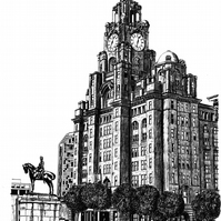 The Royal Liver Building in Pen - Limited Edition Signed Art Print