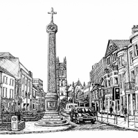 Churchgate, Bolton in Pen - Limited Edition Signed Art Print