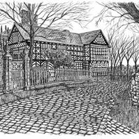 Hall ith Wood, Bolton in Pen - Limited Edition Signed Art Print