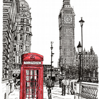 The Palace of Westminster, London in Pen - Limited Edition Signed Art Print