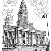 Bolton Town Hall in Pen - Limited Edition Signed Art Print