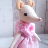 Miss Mouse, cute small handmade cloth doll with pink dress