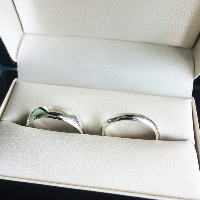 Wedding Rings in Silver with Yorkshire Hallmark and Certificate of Authenticity