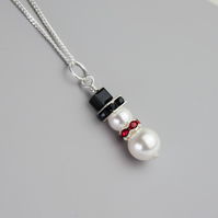 Snowman Necklace, Swarovski Snowman Necklace