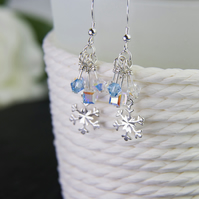 Snowflake Earrings, Swarovski Snowflake Earrings