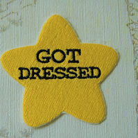 Gold star adulting embroidered iron on patch: Got Dressed.