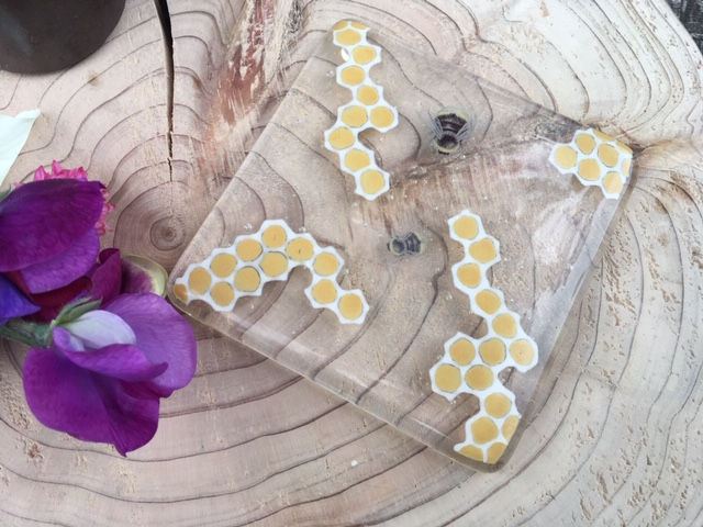 Bee melted glass coasters