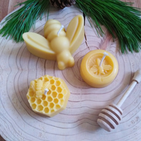 Beeswax bee candle collection