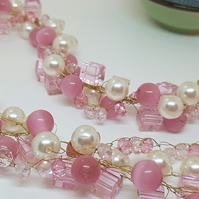 3 Strand Pink Twist Necklace