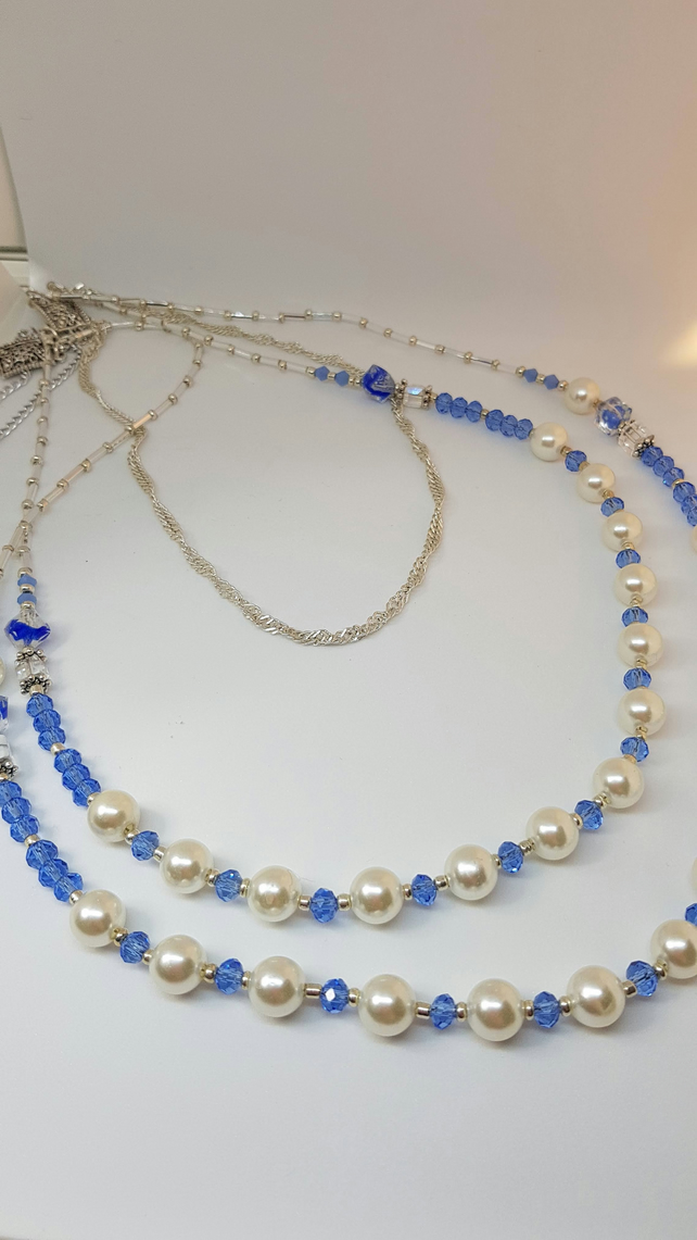 Blue and Pearl Necklace Set, including earrings, and bracelet to match