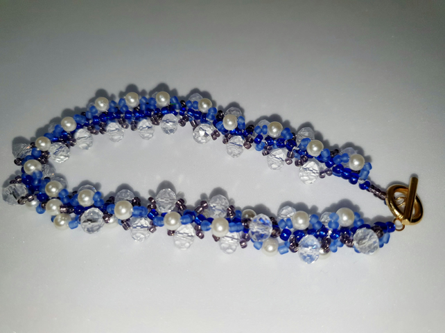 Blue Beaded Rope Style Bracelet with Tbar closure