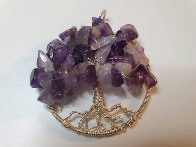 Tree of Life Purple Amethyst Gemstones on silver wire 4cm dia.