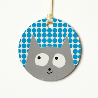 Sleek Silver Cat Ornament, handmade hanging decoration or gift tag
