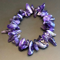 Genuine Amethyst Stretchy Bracelet