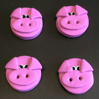 Pink Piggy Design Polymer Clay Buttons