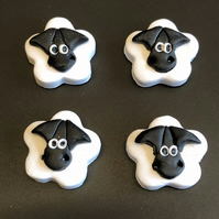Goofy Sheep Polymer Clay Buttons
