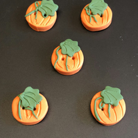 Pumpkin Design Polymer Clay Buttons
