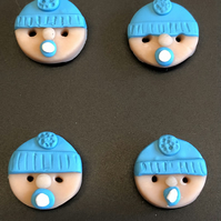 Dummy Sucking Baby Polymer Clay Buttons In Blue