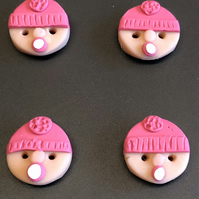 Dummy Sucking Baby Design Polymer Clay Buttons In Pink