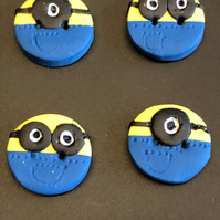 Minion Design Polymer Clay Buttons