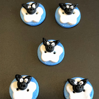 Glittery Sheep Polymer Clay Buttons In Blue