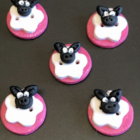 Glittery Sheep Polymer Clay Buttons Pink