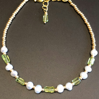Genuine Peridot Rectangles And Pearl Bracelet