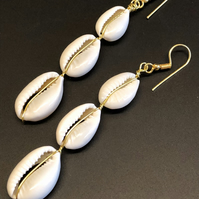 Bohemian Natural Cowrie Shell Drop Earrings