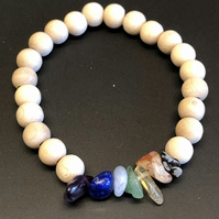 Genuine Gemstone and Wooden Bead Chakra Stretchy Bracelet