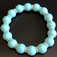 Ice Cream Blue Shell Pearl Stretchy Bracelet