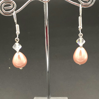 Shell Pearl And Swarovski Drop Earrings
