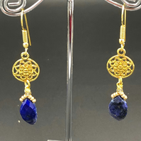 Lapis Lazuli With Mandala Charm Dangle Earrings