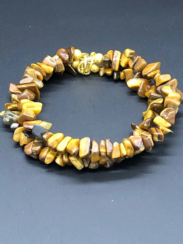 Tigers Eye Memory Wire Bracelet