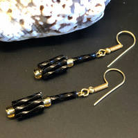 Black And Gold Dynamite Bugle Bead Earrings