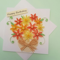 beautiful orange flowers handmade card,art, birthday, quilling,craft