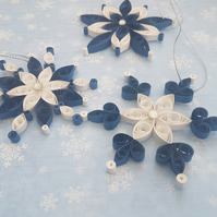 Christmas decoration set of 3,snowflakes,handmade ,quilling paper art,