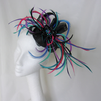 Jewel Colour & Black Feather Sinamay & Pearl Fascinator Wedding Hat -Teal Purple
