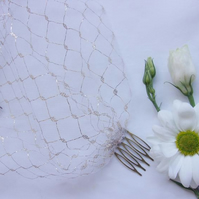 Ivory and Gold Lurex Weave Fine Tulle Birdcage Bandeau Bridal Wedding Veil