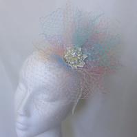 Pastel Rainbow Unique Veiling Net Fascinator Hat