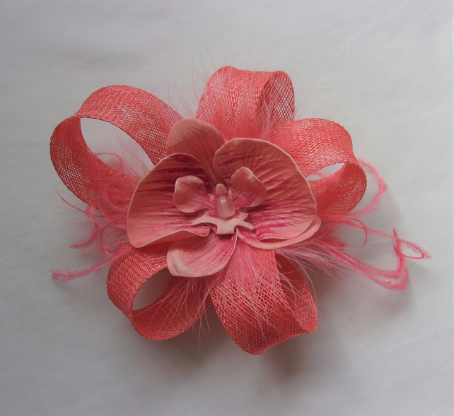 Bright Coral Sinamay Loop with Orchid Flower Fascinator Hair Clip