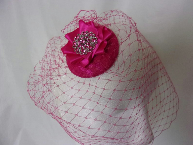 Cerise Raspberry Vintage Style Clip In Blusher Birdcage Veil with Rhinestones