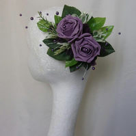 Retro Dark Lilac Purple Rose & Foliage Wedding Fascinator Comb