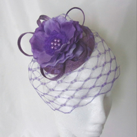 Ultraviolet Purple & Lilac Vintage Style Flower & Veil Fascinator Hat