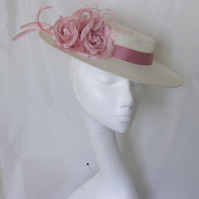 Ivory & Dusky Rose Pink Flower and Feather Boater Hat