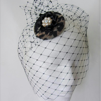 Small Retro Style Leopard Print and Black Merry Widow Clip in Veil Headpiece