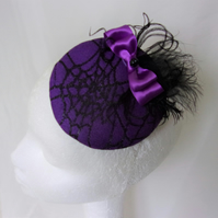 Black & Purple Cobweb Cocktail Percher Hat Fascinator