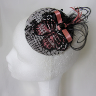 Coral Stone & Black Butterfly Print Cocktail Percher Hat Fascinator Headpiece