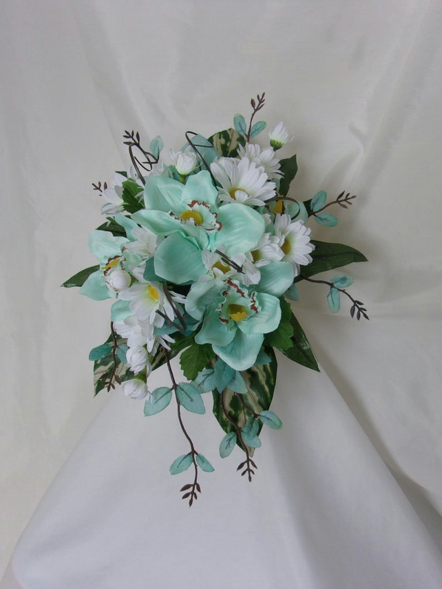 Aqua Blue White Yellow & Green Orchid Daisy Flower Cascade Shower Brides Bouquet