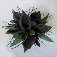 Black Calla Lily & Natural Green Foliage Gothic Bridal Wedding Posy Bouquet