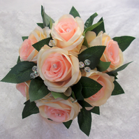 Peach & Apricot Pretty Large Rose & Crystal Posy Brides Bouquet